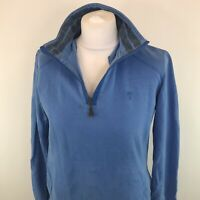 Womens Fat Face 1/4 Zip Jumper Blue Funnel Neck Sz 12 UK Ladies