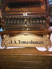 antique Brass National cash register Top Sign NCR  J. A. Tomashunas Candy Barber