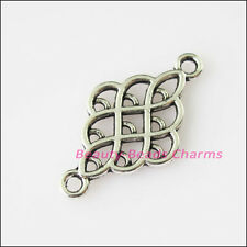 8Pcs Antiqued Silver Tone Oval Chinese Knot Charms Pendants Connector 14x25.5mm