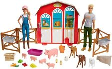 Barbie Sweet Orchard Farm Dolls Barn Playset with Ken, Barn with 11 animals. NEW