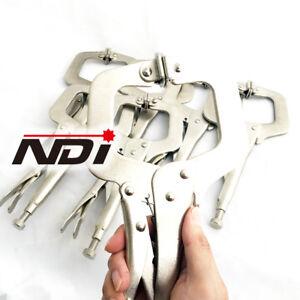 """NDI 4PCS Heavy Duty Steel 11"""" C-Clamps Mig Welding Locking Plier Vice Grip N0105"""