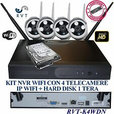 KIT VIDEOSORVEGLIANZA WIRELESS  DVR NVR  4 CANALI 4 TELECAMERA WIFI + HD 1 TERA