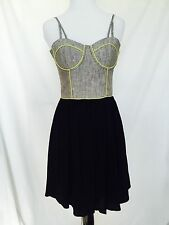 Pink Stitch Bustier Top Dress Black Flowing Skirt . Size XS Or 4. NWT $35