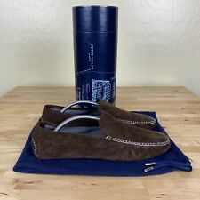 Peter Millar Cashmere Lined Suede Slipper Mens Size 9.5 Brown New