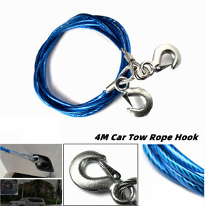 4M Car Heavy Duty Tow Rope Pull Grab Hook Car Emergency Wire Tow Rope Recovery