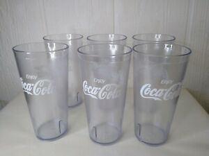 Coke Coca-Cola Restaurant Clear Plastic Tumblers Cups 24 oz Enjoy NEW Lot of 6