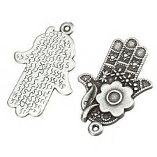 Antique Silver Hamsa Hand Charm Pendants 29mm Pack of 2 (B103/12)