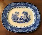 Antique Doulton Watteau Flow Blue Ironstone Transfer Platter 19th C