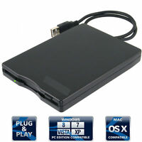 "Black External USB 3.5"" 1.44MB Floppy Disk Drive for Windows XP/7/ME/2000 BR"