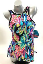 24th & Ocean Two Piece Tankini Swimsuit Sz Large Blue Pink Floral Lime High Neck