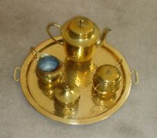 """Antique """"Hammered"""" Brass/Copper Serving Set - In Family For 60 - 70+ Years!"""