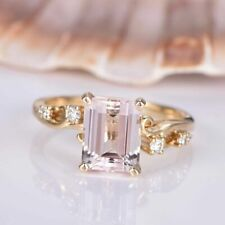 3ct Emerald Cut Peach Morganite Solitaire Engagement Ring 18k Yellow Gold Finish