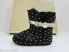 "Michael Kors Size 3 Black Fur Boots New Baby Girl Shoes 2 - 9 Months 4"" Insole"