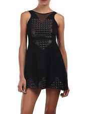 TIALS This Is A Love Song Angie Black PVC Panel Skater Stretch Mini Dress XS S M