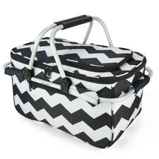 Eaglemate Foldable Outdoor Picnic Insulated Cooler Basket Storage Tote Black