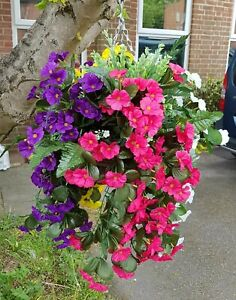 Artificial Hanging Basket Multi Colour Flowers Ivy Leaf Fern Foliage Plant Rose