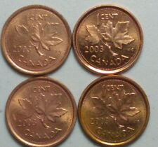 2003 Magnetic & Non Magnetic Canada 1 Cent Penny Old and  New Effigy