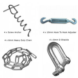 Static Caravan Chain Down Kit. Siting, Anchor Kit For Soft Ground. Sand Gravel