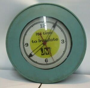 VINTAGE 1950'S TEL-A-SIGN JOHNS MANVILLE ADVERTISING WALL CLOCK LIGHTED WORKS NE