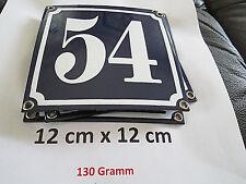 Hausnummer Nr. 54 weisse Zahl auf blauem Hintergrund 12 cm x 12 cm Emaille