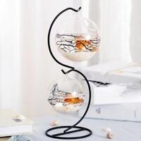 Glass Tealight Holder Microlandscape Pot Home Fairy Garden Decor 8cm_Round