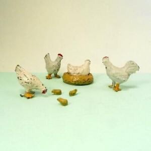 Vintage Lead Farm - Barrett & Sons CHICKENS  NEST + TINY CHICKS SET Britains Era