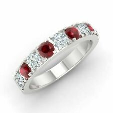 Ruby & Diamond Wedding Band Ring Certified 10k White Gold 0.92 Cts Natural