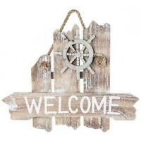Rustic Weathered Wood Distressed Nautical Welcome Sign Wall Plaque Decor