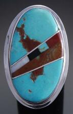 Size Silver Turquoise Santo Domingo Inlay Round Ring by Ellouise Padilla 7K16E