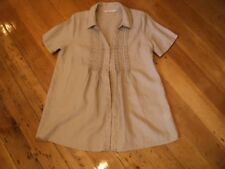 Virtu beige linen long tunic top. 12 to 14