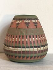 """Native American Indian Navajo Etched Handmade Pottery Pot Signed E. Begay 3 1/2"""""""