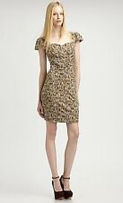 Marc Jacobs Slate Grey Georgie Tweed Printed Cotton Jersey Dress $248 NWT S