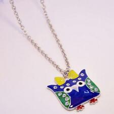 Cute Diamante Blue Owl Yellow Bow Necklace Chain Stocking Party Bag Filler