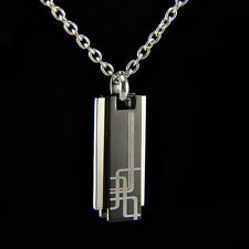 Men Titanium Stainless Steel 3 Bar Blue /Black Pendant Necklace