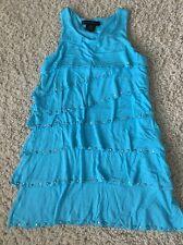 Flowers by Zoe Cream Blue Tiered Tank Dress Size 5