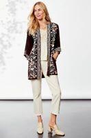 Johnny Was Rosa Embroidered Velvet Open Front Kimono Jacket Black Multi  Sz XXL