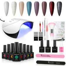COSCELIA Nail Gel Polish Set 8 Colors Nail Varnish Starter Kit with Lamp Topcoat