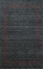 BLACK FRIDAY DEAL Tribal Bordered Gabbeh Distressed Handmade Wool Area Rug 5x7
