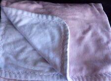 Pottery Barn Kids Pink White Chamois Stroller Baby Blanket Zig Zag Stitch Trim