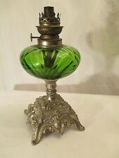 kerosene oil LAMP EMERALD GREEN glass FONT early Victorian LIGHTING / FRENCH ?