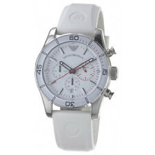 NEW with Tag Emporio Armani Mens Watch Chronograph Silver Slicone White AR5947