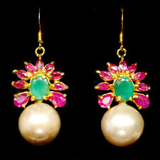 NATURAL GREEN EMERALD, RUBY & PEARL EARRINGS 925 STERLING SILVER