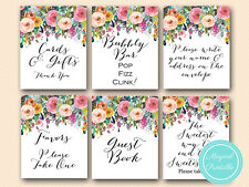 Print Yourself - Shabby Chic Floral Bridal Shower Decoration Signs SN34
