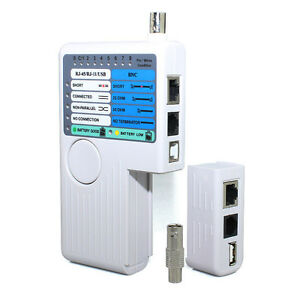 4 In 1 Network Cable Tester RJ45/RJ11/USB/BNC LAN Cable Cat5 Cat6 Wire Tester