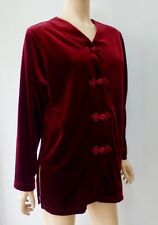 Vintage Natorious Maroon Oriental Frog Button Long Velour Velvet Top Blouse