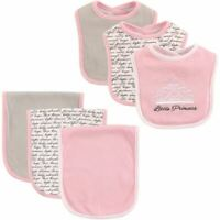 Hudson Baby Girl Bib and Burp Cloth, 6-Piece Set, Princess
