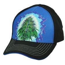 Marijuana Weed Nug Leaf Ganja Sublimated Hat Cap Purple Black Adjustable Herbs