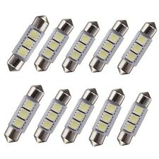 10x Pure White 36mm 3 LED 5050 SMD Festoon Dome Car Interior Light Lamp Bulb 12V