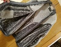 Gino Rossi For Wilson hand knit by Heather Wanless gray silver zipper sweater