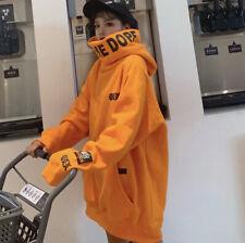Harajuku Oversize Sweater Hoodie Orange Dope Unique Design Pockets Womens Mens